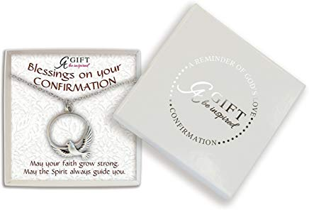 Confirmatiion Dove Pendant Silvertone Necklace