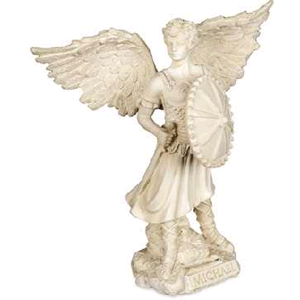 "St. Michael The Archangel Statue White Polyresin  7'"" H"
