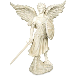 St. Michael The Archangel Statue White Polyresin  9 1/4""