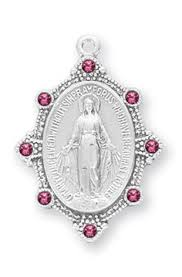 Miraculous Medal Sterling Silver With Pink Swarovski Crystals