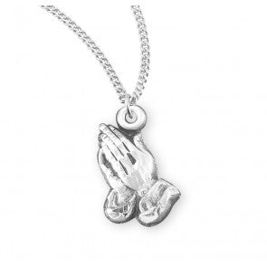 Praying Hands Sterling Silver Medal
