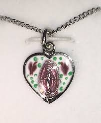 Enameled Pink Sterling Silver Heart Shaped Miraculous Medal With Chain