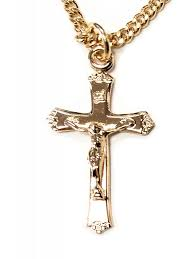Gold Over Sterling Silver Crucifix with Flower Flare Tips