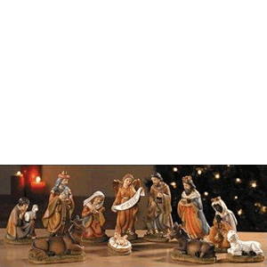 "Nativity Set 11 Pieces 4.5"" Stoneresin"