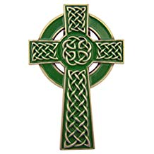 Celtic Cross Green Enamel Visor Clip