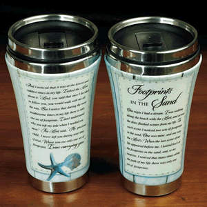 Footprints In The Sand Ceramic Travel Tumbler