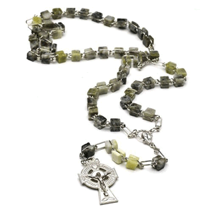 Connemara Marble Square Beads Rosary Made In Ireland