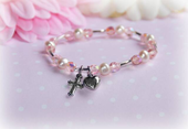 Pearl and Pink Crystal Stretch Bracelet with Heart and Cross