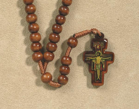 Brown Wood Corded Rosary With Sam Damiano Crucifix