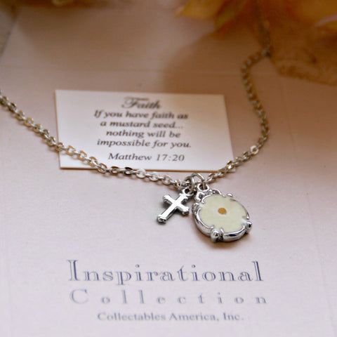 Mustard Seed Rhodium Necklace with Cross