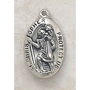 14K Gold St Christopher Oval Medal