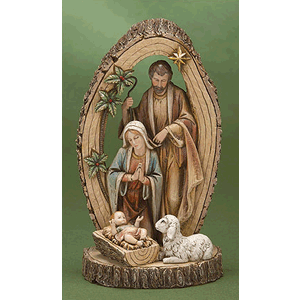 Woodgrain Holy Family with Sheep on Base