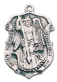 "St. Michael Protect Us Silver Plated Medal on 24"" Chain"