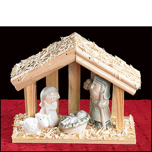 Nativity With Lamb In Wooden Stable