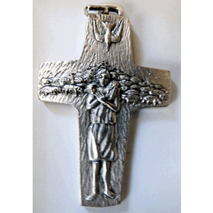 "Pope Francis 3"" Pectoral Cross Shepherd's Crucifix, Silver tone Metal, no cord, Boxed"