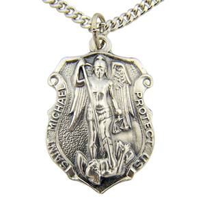 St. Michael Badge Style Medal With Chain