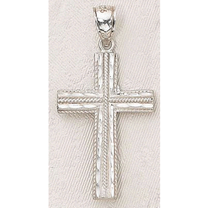 Sterling Silver Chiseled Pendant Cross