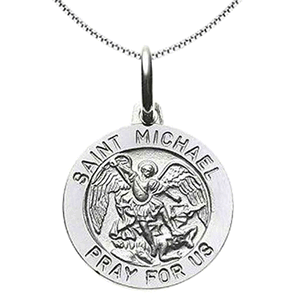 Sterling Silver Round St. Michael Medal With Chain