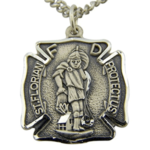 "Sterling Silver St. Florian Medal With 20"" Chain"