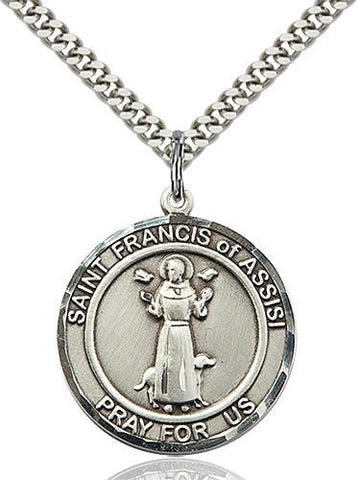 Pewter St. Francis of Assisi Medal With Chain