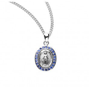 Sterling Silver Sapphire Cubic Zirconia Miraculous Medal With Chain