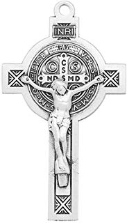 "Saint Benedict Jubilee Sterling Silver Medal/Crucifix on 24"" Chain"
