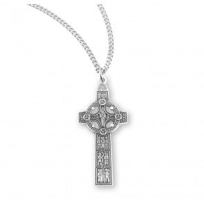 "Sterling Silver Irish Celtic Cross on 18"" Chain"