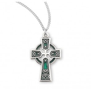 Sterling Silver Green Enameled Irish Celtic Cross Pendant