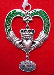 Green Enamel Claddagh Ornament