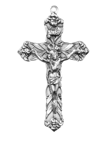 "Crucifix Silvertone 2 1/4"" on 24 "" Chain"