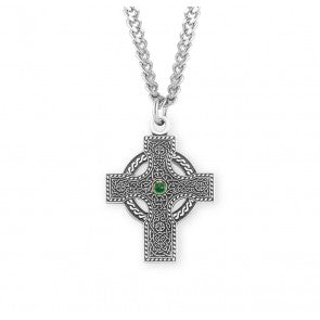 "Sterling Silver Iona Celtic Cross with Emerald Center on 24"" Chain"