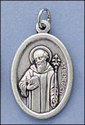 St. Benedict Oxidized-Silver Religious Medal