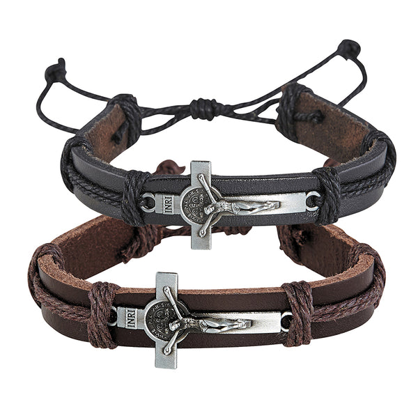 St. Benedict Crucifix Leather Bracelet