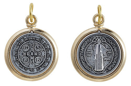 Large (1 inch) Two Tone St. Benedict Medal (gold)