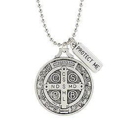 "St. Benedict Medal with ""Protect Me"" Charm"