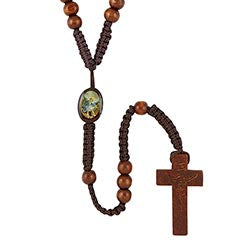 St. Michael Archangel Wood Cord Rosary