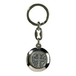 St. Benedict Silver Plated Keychain