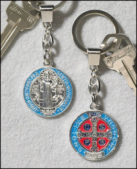 St. Benedict/Exorcist Silver-Enamel Key Chain