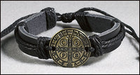 Leather St. Benedict medal Bracelet