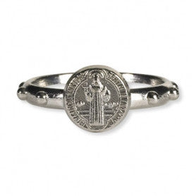 Saint Benedict Single Medal Ring