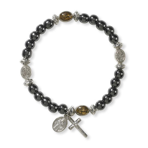 St. Benedict Adjustable Hematite Beads Bracelet