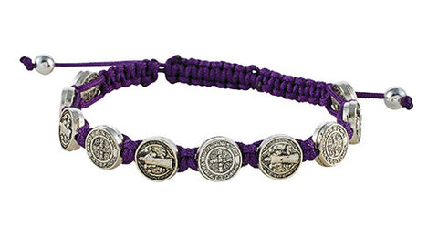 St. Benedict medals with cord bracelet: Purple, Blue, or Brown