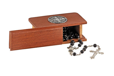 St. Benedict Wooden Rosary Box (does not include rosary)