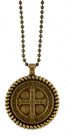 St. Benedict Antique Gold Pendant Medal