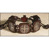 St. Benedict Dark Brown/silver decal bracelet