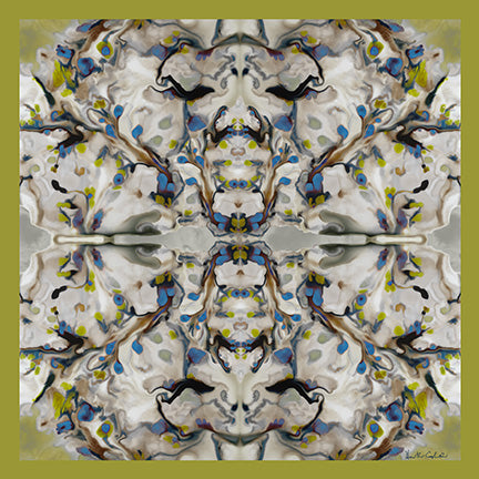 Silk Neckerchief Abstract Floral Golden Lime Riverside