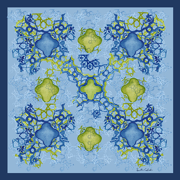 Silk Carre´Syrian Tile Navy Peony