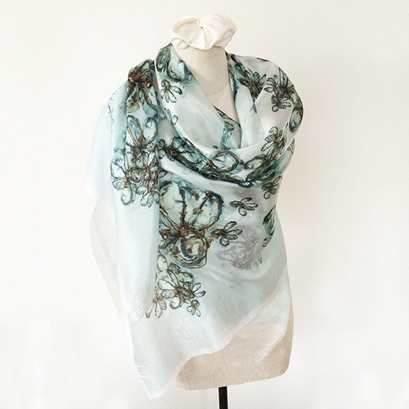 Large Sheer Georgette Scarf Batik - Aqua