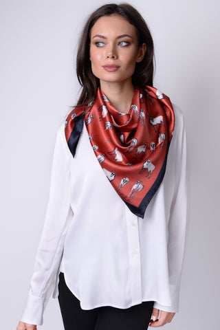 Mongolian Wear-3-Ways Shawl Aurora Red