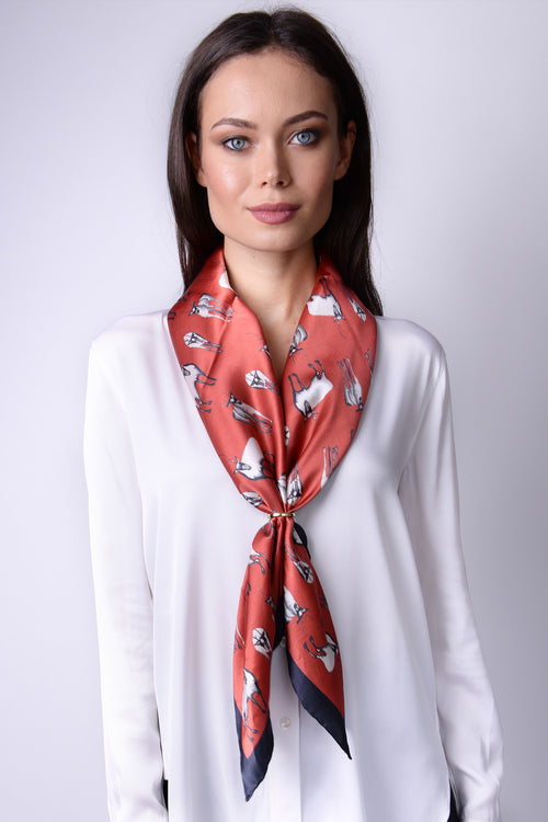 Silk Carre´Winter Animals Caribou Herd - Aurora Red - 10% to WWF